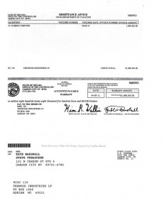 Tax Refund of $1,898,503.00 to Texwood Industries